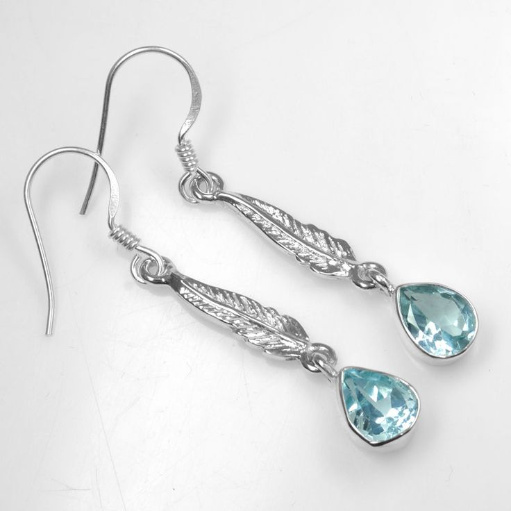 925 Sterling Silver Natural Top Blue Topaz Women Pear Earrings Jewelry sve1132 $ #Unbranded