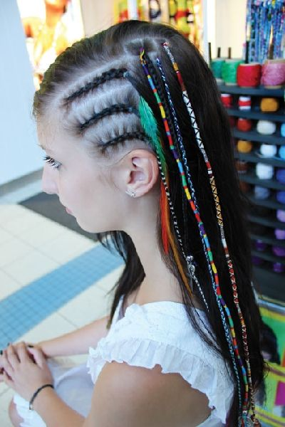 hair wraps with string, bright, colourfull, Island Hair Braids NZ