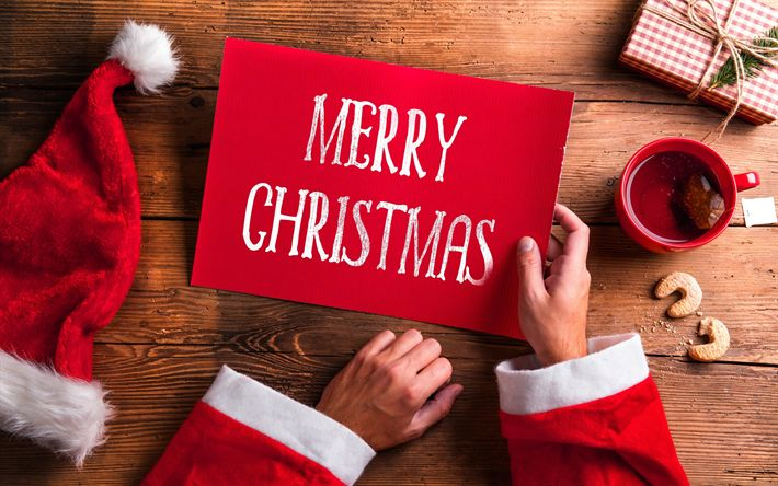 Download wallpapers Merry Christmas, New Year, Santa Claus, red plate, Christmas