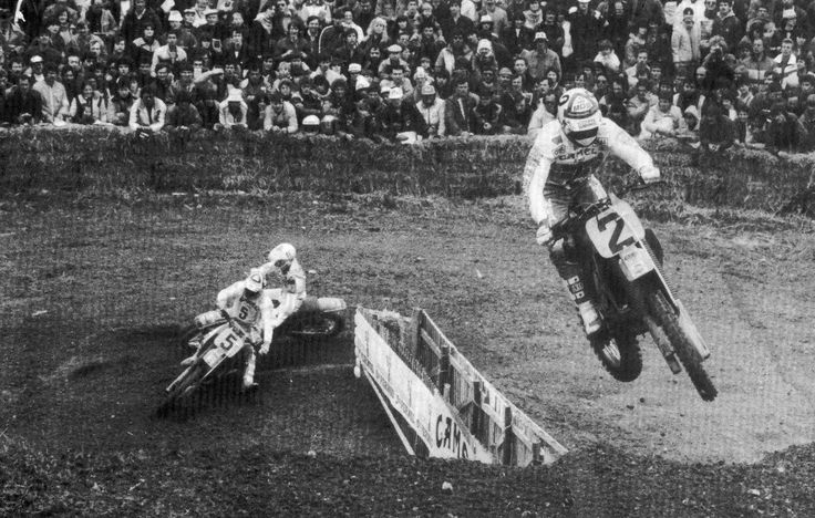 André Malherbe 2 # Dave Thorpe 5 # world motocross gp 500cc # french track Brou