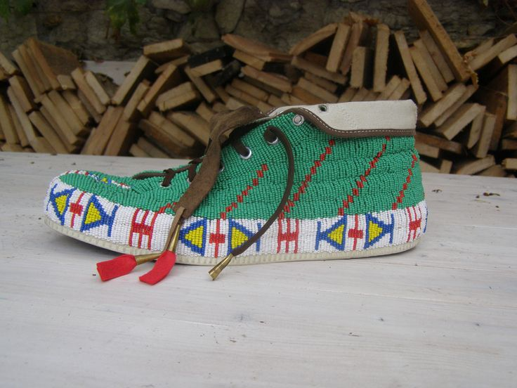 canvas shoes with beads by Lakota style
