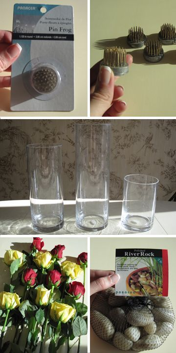Materials for Submerged Rose Centerpiece