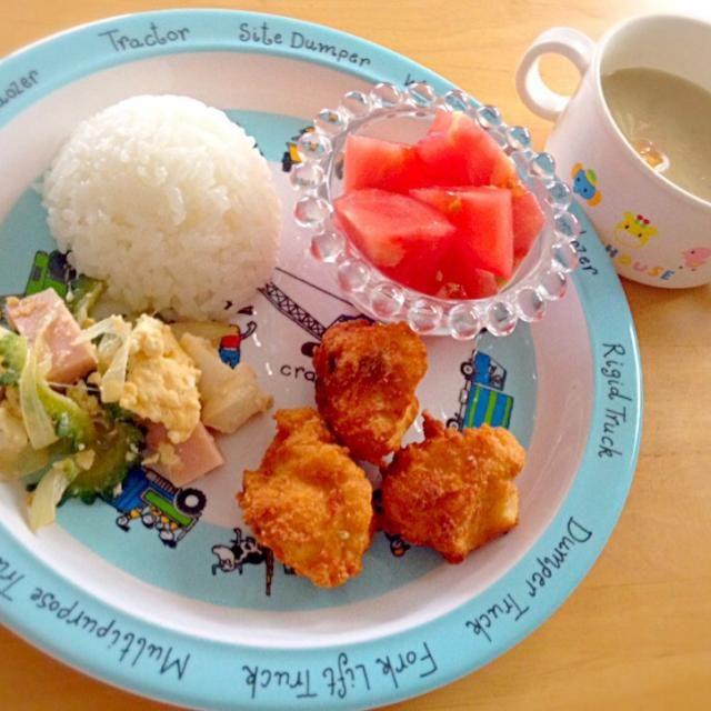 ・豆腐入りチキンナゲット ・ゴーヤチャンプル ・トマト ・豆乳カレースープ - 13件のもぐもぐ - 息子夕食 チキンナゲット by eri6812