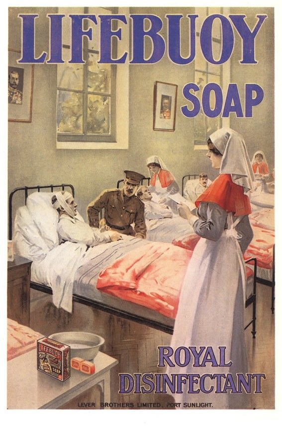 A reproduction of a WWI era Lifebuoy soap advertisement features nurses to link the product to health, 1990s. Pictures of Nursing: The Zwerdling Postcard Collection. National Library of Medicine