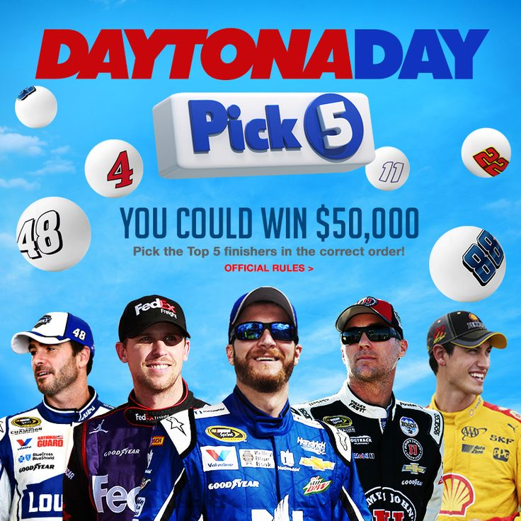 Enhance the NASCAR on FOX Daytona 500 experience by playing the Daytona Day Pick 5 fantasy game for your shot at the $50,000 prize.