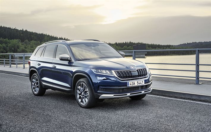 Download wallpapers Skoda Kodiaq Scout, 2018 cars, crossovers, new Kodiaq, Skoda