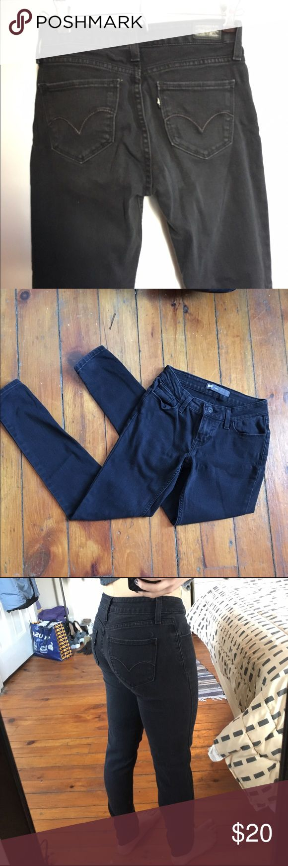 Black Levi Jeans These are faded black Levi's                                                             Size not labeled but it fits like a size 0                                   Stretchy material -- low rise                                                     Worn but in good condition                                                              Price is negotiable and I will consider trades                                                           Comment with any questions :) Levi's…