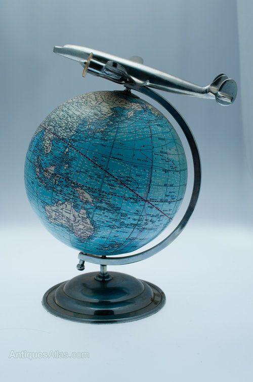 1938 World Globe with aeroplane