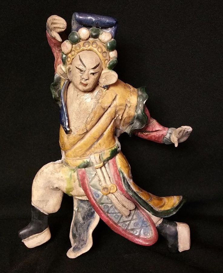 Antique Chinese Ceramic Roof Tile Animated Warrior ~ Hand Combat Stance