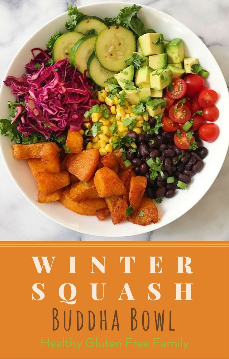 A super plant-based dinner big on flavor! Spiced and Roasted Butternut Squash, Quick and Easy pickled cabbage and pickled cucumbers, avocado, black beans, corn and tomatoes. #GlutenFree