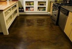 How to stain your basement concrete floors: brown stained concrete