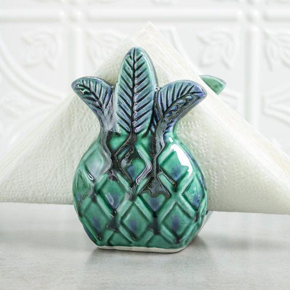 Pineapple napkin holder Sponge Holder Tropical Decor Mint Green Blue Handmade Ceramic Pottery Kitchen Hostess Mother's Day Gift