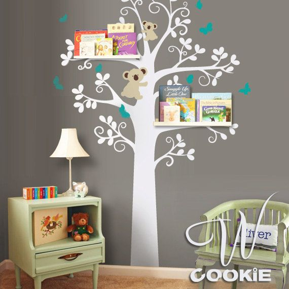 Koalas' are my favorite animal.. I think they will be my daughter's also :)   Tree, Koalas and Butterflies  - Nursery Wall Decal. $96.00, via Etsy.