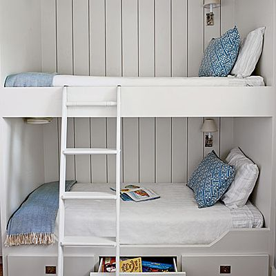 Borrowing cues from life aboard a ship, the designers of this Galveston Bay, Texas, home maximized sleeping space in the boys' bedroom by constructing custom bunk beds. | Coastalliving.com