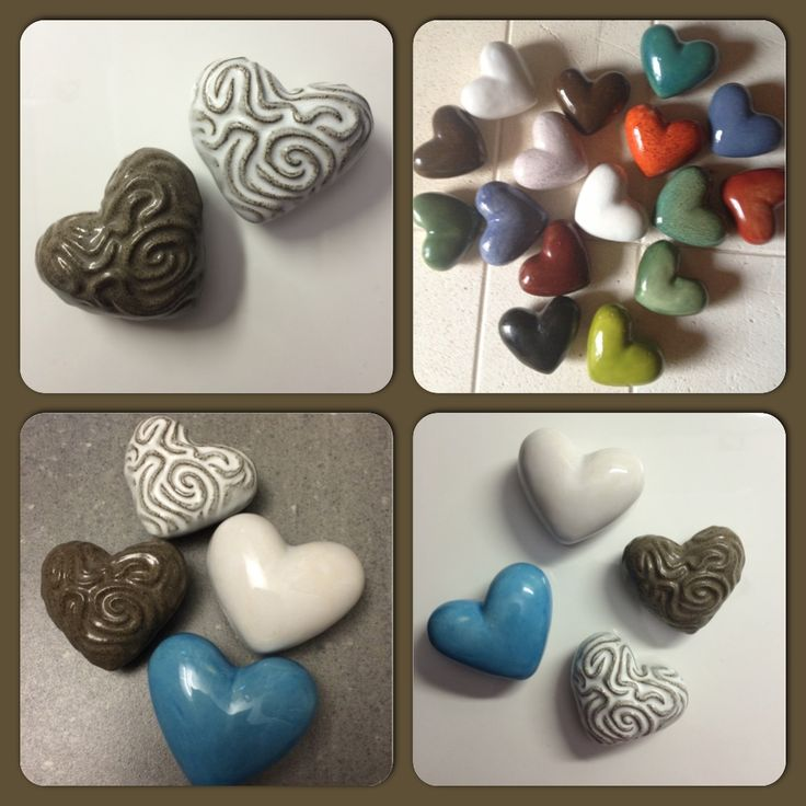 Hearts in beatiful collars made with love in ceramic
