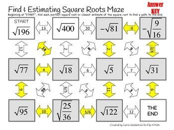 Estimating square roots worksheet notes