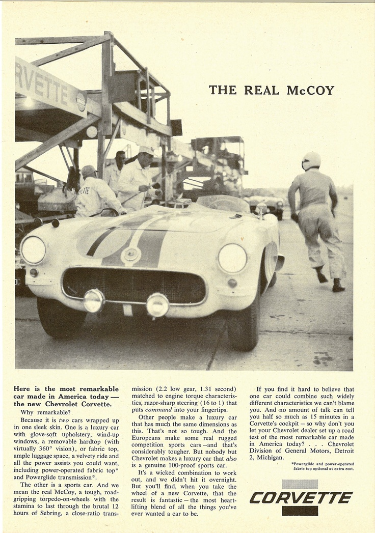 1956 Corvette - The Real McCoy: Team Corvette, Corvettes, 1956 12, 1956 Corvette, Cars Races, Corvette S C1, Cars 4 Wheels, Corvette Advertising