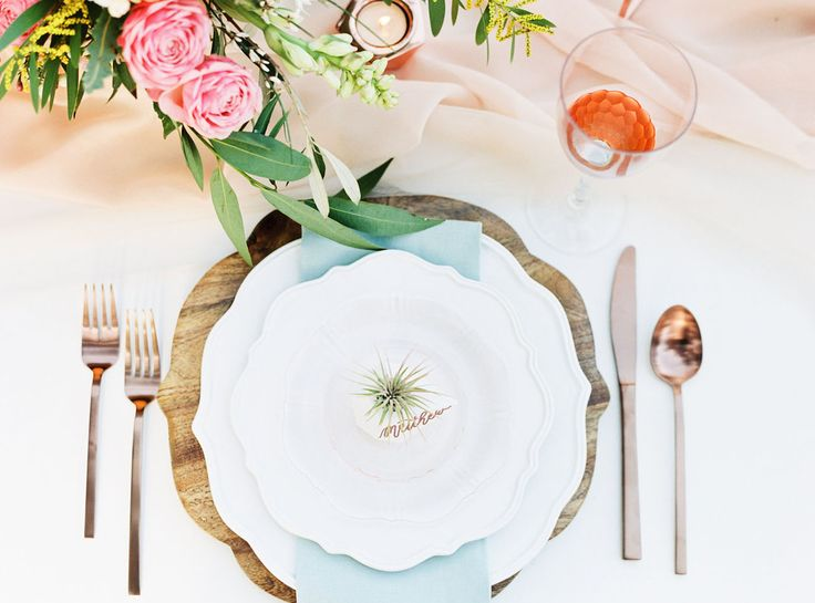 Southwestern Greenhouse Inspiration place settings by Highland Avenue Events @loftphoto