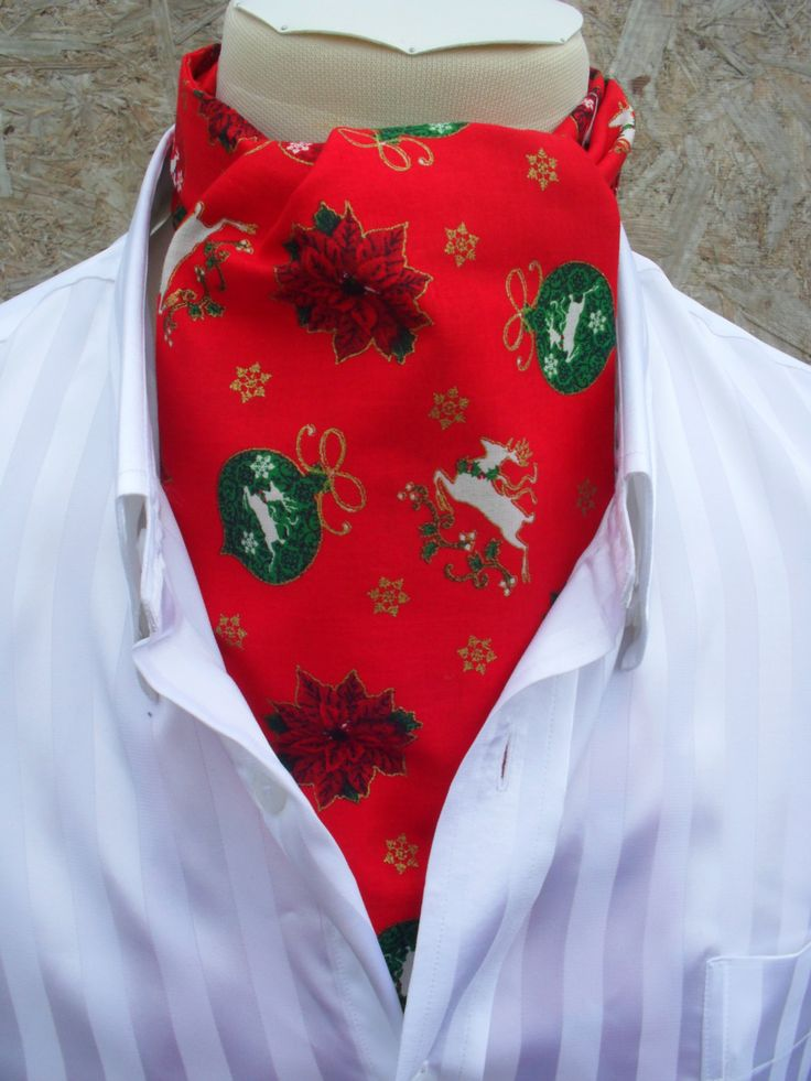 Red Christmas / Festive / Holiday / Xmas Cravat with baubles, white deer and gold snow flakes. Item No. LDC0128 by LDCcreations on Etsy