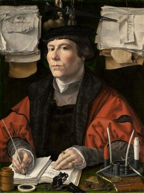 Half-length portrait of a well-dressed man at a desk, pen in hand, surrounded by papers, books, and desk accessories