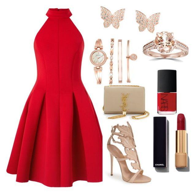 """Red Dress"" by osirisarambuloh on Polyvore featuring Miss Selfridge, Giuseppe Zanotti, Yves Saint Laurent, Anne Klein, Chanel and NARS Cosmetics"