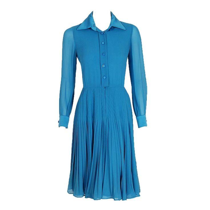 1970's Valentino Couture Turquoise-Blue Silk Chiffon Pleated Swing  Shirtdress