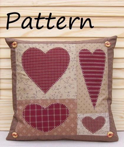 PATTERN - Prim Linz Country Hearts Cushion Pattern | eBay