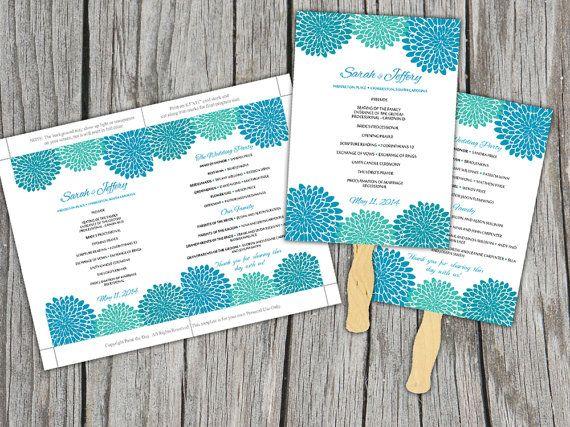 DIY Wedding Fan Blue Teal Green Chrysanthemum Microsoft Word Template