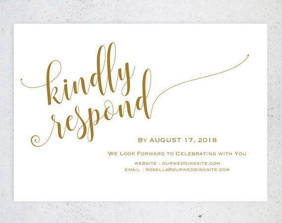 Gold Rsvp Postcards Templates Wedding