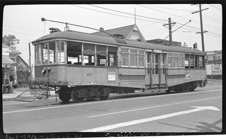 Los Angeles Railway no. 67 photographed at Central and Slauson, Los Angeles, May 20, 1947