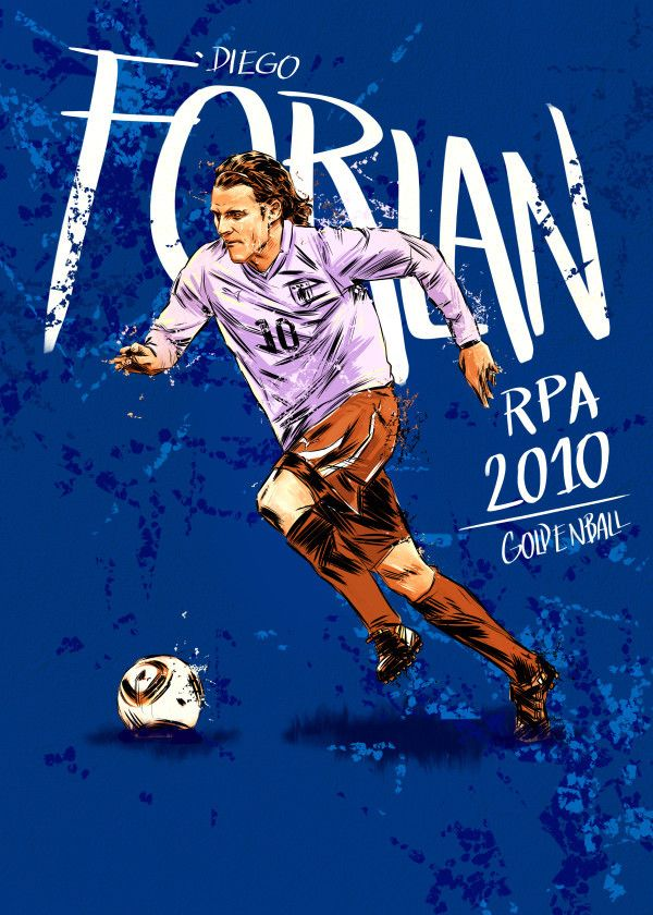 Fifa World Cup Golden Ball Winners 2010 Diego Forlan Displate Artwork By Artist Mr Jackpots Part Of A Set Featurin Poster Prints Diego Forlan Football Art