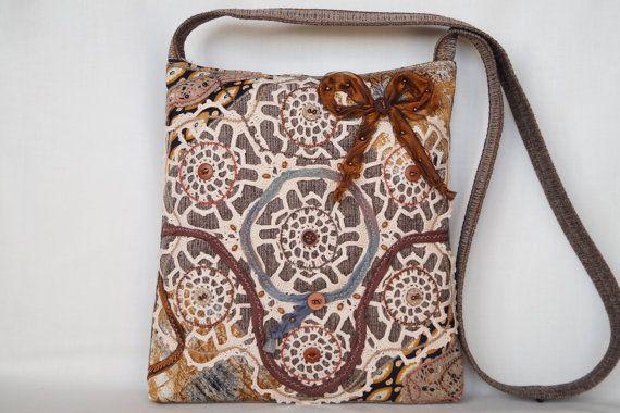 Beige crocheted lace bag medium size bag vintage by bokrisztina