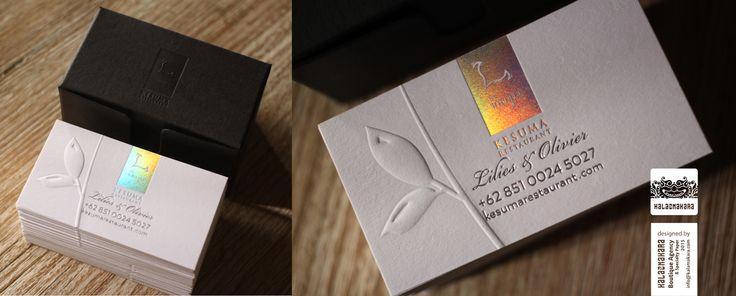 Kesuma business card/ Box: ArjoWiggins Keaykolour Antique - Jet Black 400gsm/ Hotstamped with Milford Astor FFF000 (clear) foil/   Card: ArjoWiggins Curious Particles - Snow 250gsm/ Hotstamped with Milford Astor (Laser) and Kurz Alufin Satin Gloss foil/ Blind Embossed