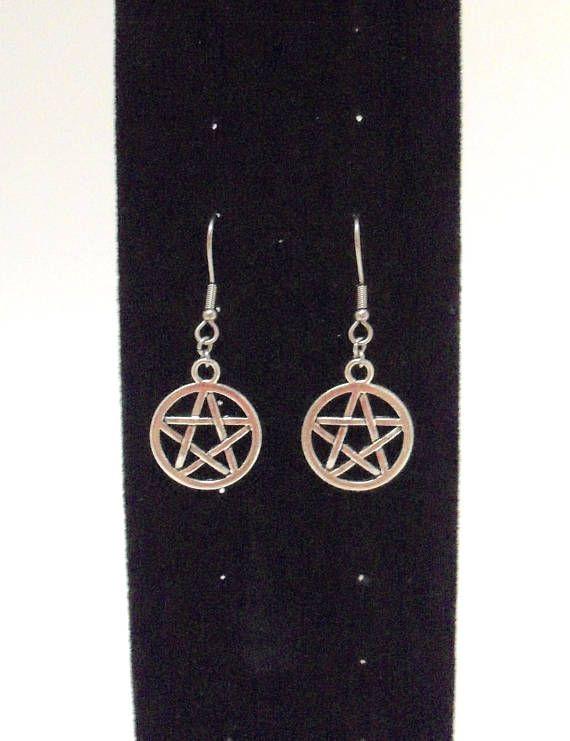 Pentacle Charm Bracelet and Earrings set Stainless Steel