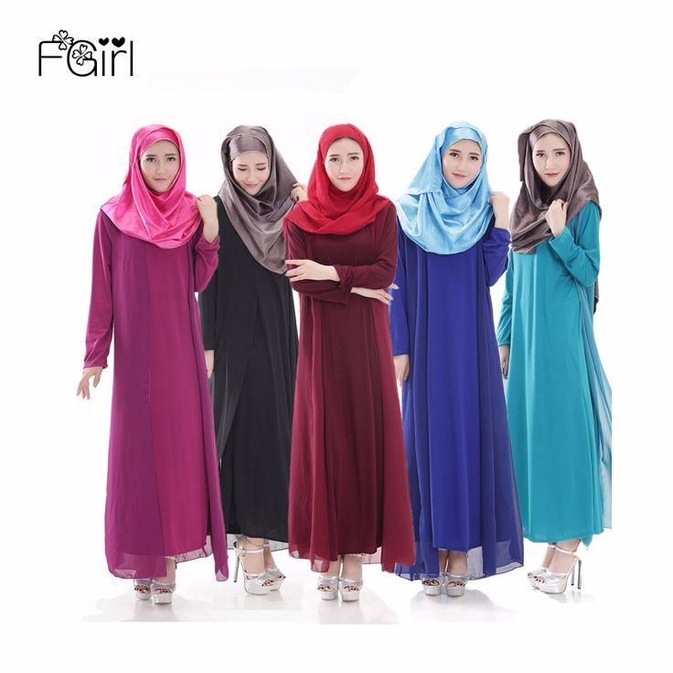 FGirl Long Muslim Dress Women Islamic Abaya Middle East Solid Long-sleeved Islamic Clothing Abayas for Women Clothes Turkey #Islamic clothing