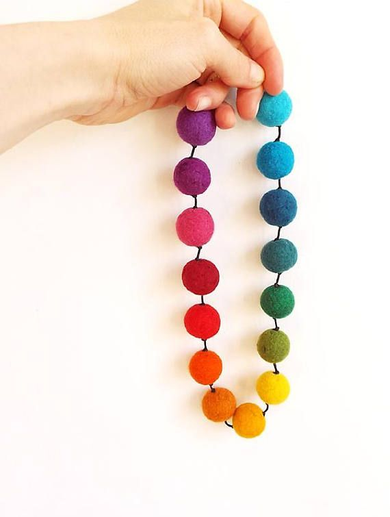 Felted Necklace Felt Necklace felted balls Felt Balls Multicolor necklace Rainbow necklace multicolor balls Colorful Winter Womens Gift  Felted necklace made from finest Australian merino wool. Size of balls about 2,2cm (0,87). Circuit about 53cm (20,87). Colors: multicolor.  High