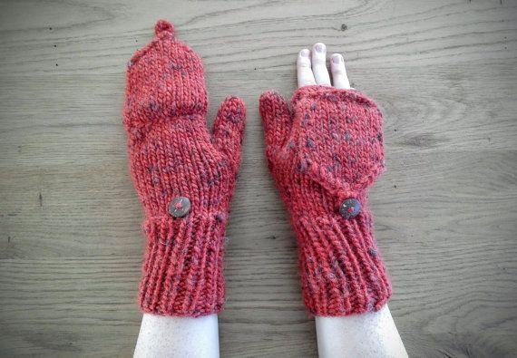 Warme gebreide wanten/handschoenen met flap door IzzysHandicraft