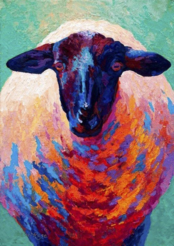 Buy Art For Less 'Sheep' by Marion Rose Painting Print on Wrapped Canvas