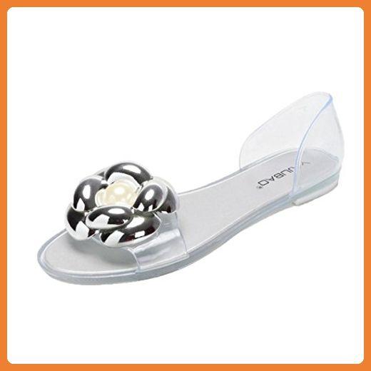 Hunpta Womens Fisch Mund Kunststoff flache Sandalen Casual Jelly Sommerstrand Schuhe (36, Silber) - Sandalen für frauen (*Partner-Link)