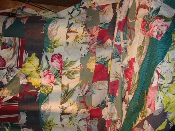 Vintage 1950s Barkcloth throw or tablecloth   by apairofsquirrels, $59.00
