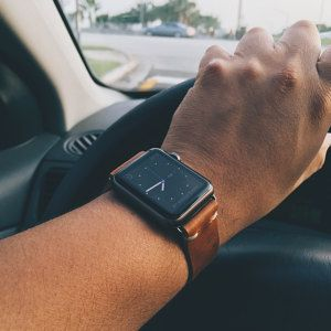 Rustic tan leather strap for Apple Watch Sport (space grey).