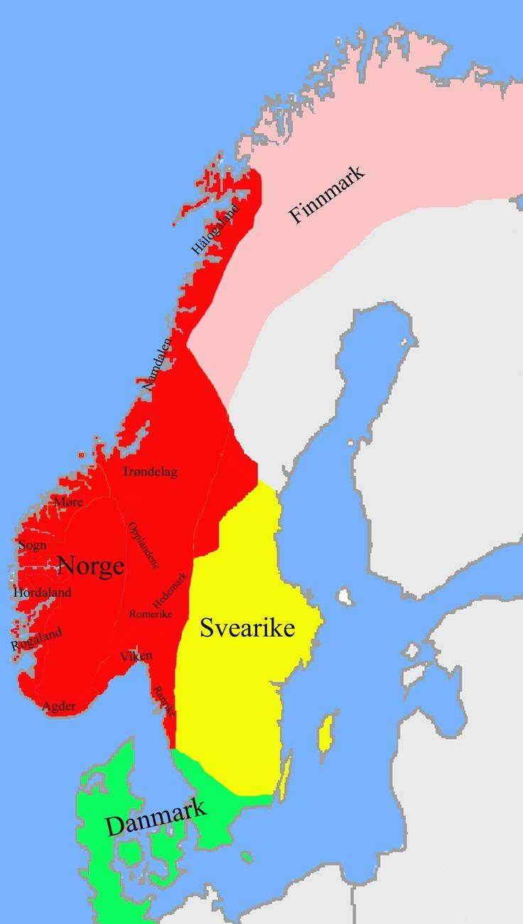 dinamarca y noruega mapa