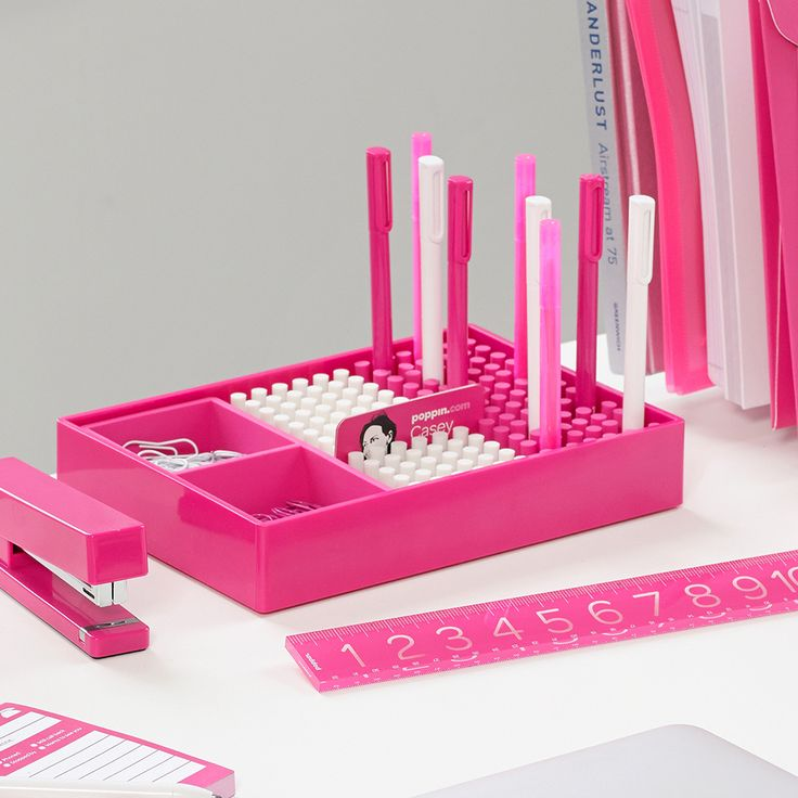 Poppin Pink Desktop Accessories Cool And Modern Office