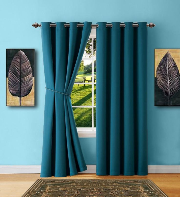 Warm Home Designs Blue Teal Blackout Curtain Panels, Pairs & Valances with Matching Tie-Backs in 7 Sizes