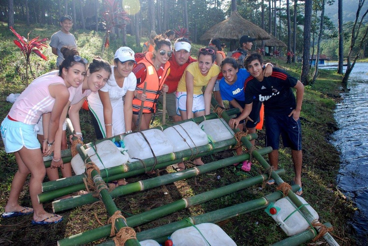 Raft building, a team building exercise in Dalat. Central Highlands of Vietnam
