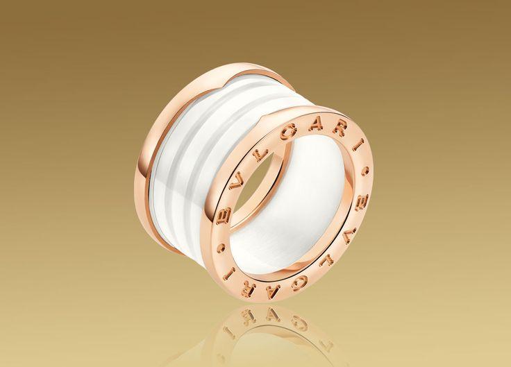 bvlgari 4 band ring in pink gold with white ceramic