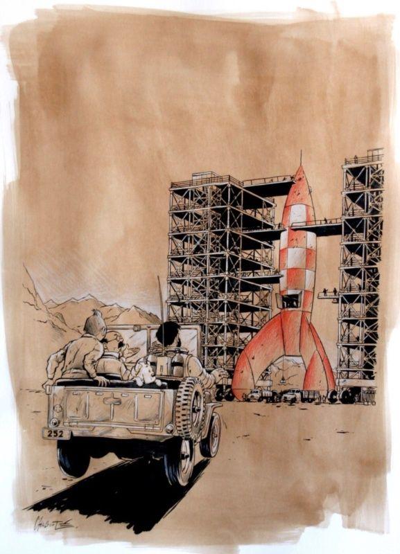 Hommage a herge / objectif lune par Christophe Chabouté - Planche originale