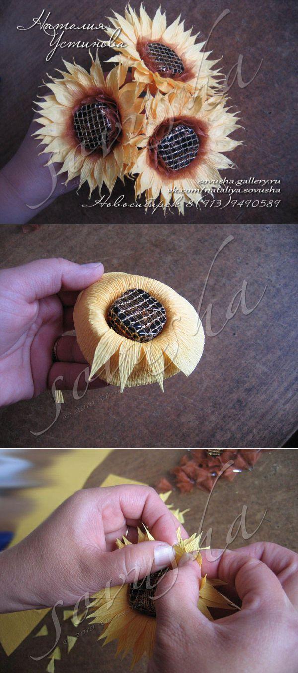 Подсолнухи из конфет и гофрированной бумаги. | букет из конфет | Постила