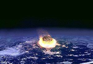 Artists impression of a major impact event. The collision between a planet and an asteroid a few kilometers in diameter may release as much energy as several million nuclear weapons detonating simultaneously.