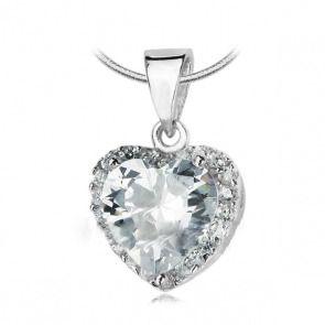 Srebrny wisiorek serduszko z cyrkonią - Biżuteria srebrna dla każdego tania w sklepie internetowym Silvea